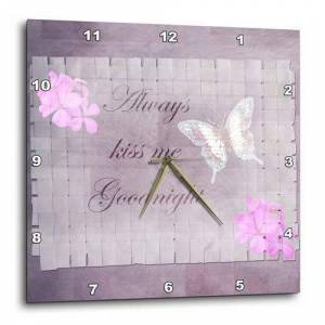 3dRose dpp_57256_2 Always Kiss Me Goodnight Romantic Sayings Floral and Butterfly Art Wall Clock, 13 by 13-Inch