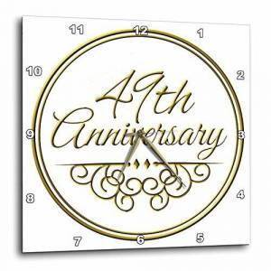 3dRose dpp_154491_3 49th Anniversary Gift Gold Text for Celebrating Wedding Anniversaries 49 Years Married Together Wall Clock, 15 by 15-Inch