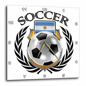 "3dRose Argentina balón de fútbol con Escudo del Ventilador Reloj de Pared, 13"" x 13"