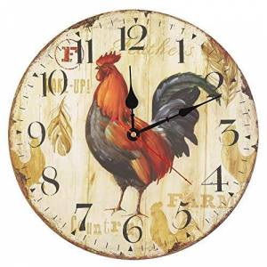 AUNMAS Inicio Reloj de Pared Grande y Colorido Estilo Vintage Reloj de Cuarzo silencioso Que no Hace tictac Decoración para la Sala de Estar Café de la Sala de Dormir para niños(3#)