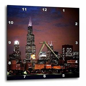 "3dRose LLC 3dRose DPP_26369_3 Horizonte de Chicago en la Noche Reloj de Pared, 15"" x 15"" (38.1 cm x 38.1 cm)"