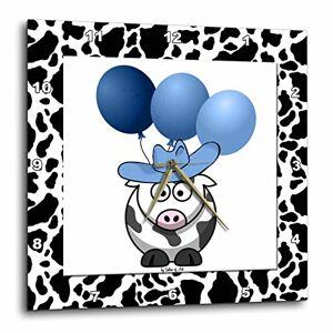 3dRose DPP 21781_ 3Western Estampado de Vaca con Globos de Color Azul Reloj de Pared, 15por 15