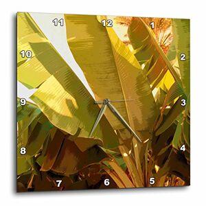 3dRose Impresión de Hojas de plátano Tropicales Grandes en Abstracto  Reloj de Pared, 13 por 13 Pulgadas (DPP_205198_2)