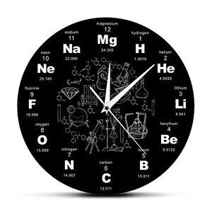 dongzhifeng Relojes de Pared para Oficina Tabla Periódica Arte de Pared Símbolo de Química Reloj de Pared Elemento Educativo Mostrar Aula Reloj Maestro Regalo