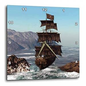 3dRose DPP_172244_1 Pirate Ship Sails Trough Coastal in Strong Winds Wall Clock, 10 by 10