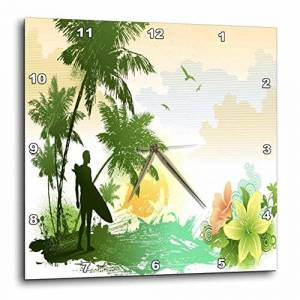 3dRose LLC 3dRose DPP_53870_2 Tropical Surfing Art Vector with Palm Trees, Flowers and Ocean Background-Wall Clock, 13 by 13-Inch