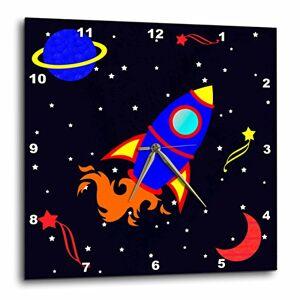 3dRose Janna Salak Designs Reloj de Pared con diseño de Cohete en el Espacio, 25,4 x 25,4 cm