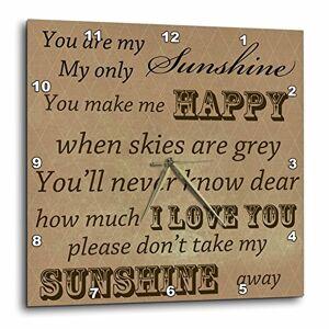 3dRose dpp_79152 PS la vendimia Estás My Sunshine en marrón Arte de palabras Canción antigua Relojes de pared