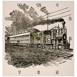 3dRose DPP 47894_ 1Antiguo Tren de Vapor Sketch Reloj de Pared, 10por 25.4cm