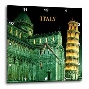 3dRose LLC 3dRose DPP_80837_3 Leaning Tower of Pisa Italy Lit at Night-Wall Clock, 15 by 15-Inch