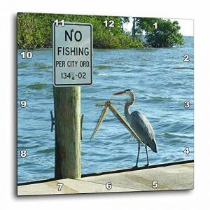 3dRose LLC 3dRose DPP_46593_3 No Fishing Sign with Greater Heron-Wall Clock, 15 by 15-Inch
