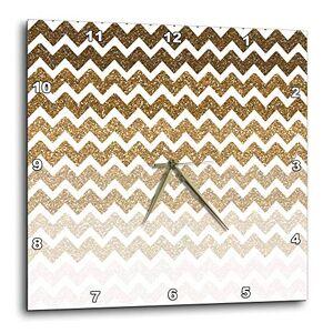 3dRose DPP 192769_ 2Oro Ombre Chevron Imagen DE Purpurina Reloj de Pared, 13por 13