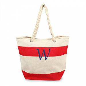 CATHY'S CONCEPTS Personalized Striped Canvas Tote with Rope Handles, Red, Letter W