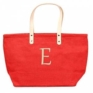 CATHY'S CONCEPTS Personalized Nantucket Jute Tote, Red, Letter E