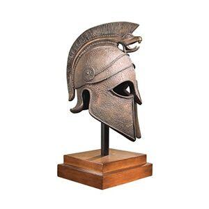Design Toscano Estatua de Armadura corinthia con Soporte de Casco Espartano Griego de 16 Pulgadas, polirresina, Casco de Batalla macedonio, Bronce, 1