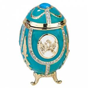 Design Toscano Russian Imperial Eagle Collection Romanov Style Enameled Egg: Teal Green