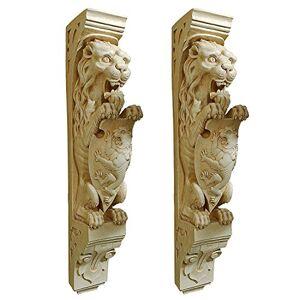 Design Toscano Manor Escultura Decorativa para Pared, diseño de león, Set de 2, Piedra Antigua, 1