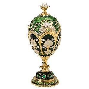 Design Toscano FH1076 The Petroika Larissa Estilo Faberge Huevo esmaltado, Color Verde, Larissa, Verde, 15.24 cm, 1