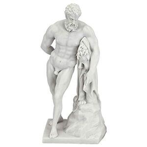 Design Toscano WU74741 Farnese Hércules Estatua de Dios Romano, 25 cm, polirresina de mármol unida, Color Blanco