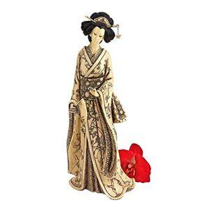 Design Toscano Japanese Okimono Geisha Holding Fan in Faux Ivory