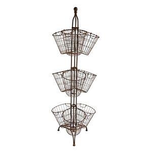 Creative Soporte Alto de Metal con 9 cestas de Alambre, óxido