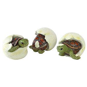 Design Toscano QM1887611 Gilbert The Box Estatua de Animales para decoración de jardín, 23 cm a Todo Color, Trillizos de Tortuga bebé, Color Completo, 1