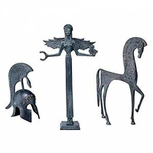 Design Toscano Greek Ironwork Ensemble Set Includes: Greek Goddess, Spartan Horse and Sparta...