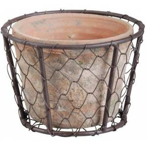 Esschert Design AT10 Aged Terracotta Single Pot with Metal Basket with Handle