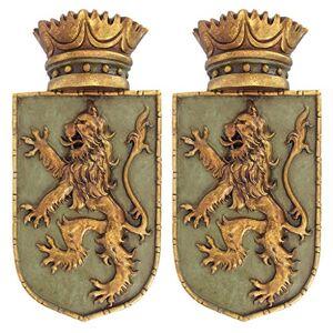 Design Toscano Escultura de pared medieval con escudo de león rampante medieval para decoración de pared, juego de dos, 35 cm, polirresina, a todo color