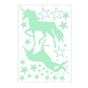 Vosarea luminoso unicornio etiqueta de la pared caballo luminoso pegatinas de pared estrella etiqueta engomada fluorescente etiqueta de la pared para la fiesta de cumpleaños de unicornio decoración de la pared