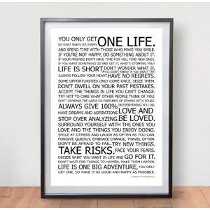 One Life Posters Póster de Vida manifiesto el mundialmente Famoso Decorativos de Pared Original Cuadro de Motivacional tamaño A2 (420 mm x 594 mm)