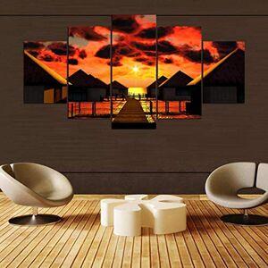 WZXHN Impresiones en Lienzo Personalizado 5 Piezas HD Imprimir Pintura Amanecer Paisaje Abastract Cuadro Moderno Decorativo Dormitorio Sala de Estar Inicio Arte de la Pared Decoración