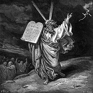 Posterazzi Moisés Descendente MT Sinai N (Exodus 32 1516) Madera Grabado después de Gustave Dor Póster Impreso por (18 x 24)