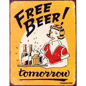 Signs 4 Fun SIG290 Cartel de Metal con Texto Free Beer Tomorrow, Color Amarillo