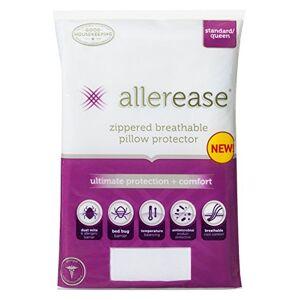 Aller-Ease , Protector de Almohada de Equilibrio de Temperatura para máxima protección y Comodidad, Blanco, Estándar/Queen, 1