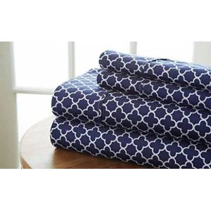 Becky Cameron Quatrefoil Patterned 4 Piece Sheet Set, Queen, Navy