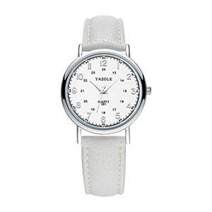 ViewgeHu Reloj de Pulsera analógico de Cuarzo para Hombre y Mujer, Estilo Casual, Esfera Grande Blanca