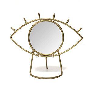 Stratton Home Décor Stratton Home Decor Espejo de Mesa con Ojos Dorados, 14.00 Pulgadas de Ancho x 6.00 Pulgadas de Profundidad x 11.50 Pulgadas de Alto