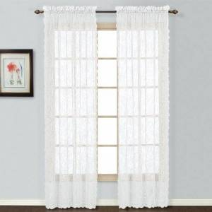 United Windsor Lace Window Curtain Panel, 56 by 63-Inch, White