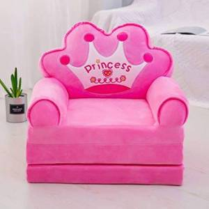 Mqing Plegable Sofá para Niños,Niño Sillón Relax Sofás Infantiles Lavable Tres Pisos Animados Muebles Infantiles Niña Silla Sofá Cama-A