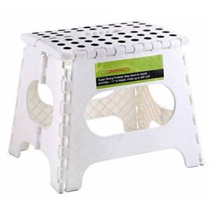 Greenco 0050B Super Strong Foldable Step Stool for Adults and Kids 11 inches in Height, Holds up to 300 Lb, Color White