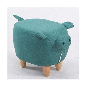 XLYAN Forma Animal Reposapiés Madera Maciza Banco Calzado para Snimales Cerdo Creativo Zapatos Taburete, 65×35×36 CM,Green