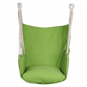 N/H Hammock Chair Hanging Swing Chair Seat with One Cushions, Swing Made of Cotton Rope and Canva Comfortable Sturdy, for Indoor and Outdoor, Home and Garden, MAX Weight: 150Kg