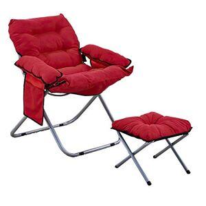 Ilios Innova Silla Plegable Acolchada con Taburete para Interiores y Exteriores Sillon sofá (Rojo)