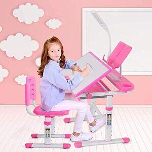 Aaedrag Multifuncional Escuela de Altura Ajustable niños Desk y Juego de sillas, Estudiante de Escritorio for niños Mesa de Estudio y Juego de sillas con gaveta de Almacenamiento for niñas