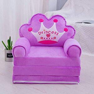 Mqing Plegable Sofá para Niños,Niño Sillón Relax Sofás Infantiles Lavable Tres Pisos Animados Muebles Infantiles Niña Silla Sofá Cama-B