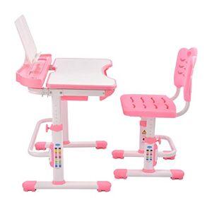 mollylower Juego de escritorio y silla para niños, altura ajustable, mesa resistente sin lámpara, cajón extraíble, estuche para lápices, soporte para libros