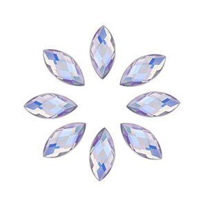 Yosoo 500Pcs In Bulk 7X15mm Crystal AB Acrylic Flatback Rhinestones Eye Shaped Diamond Beads For DIY Crafts Handicrafts Clothes Bag Shoes Wholesale, White AB