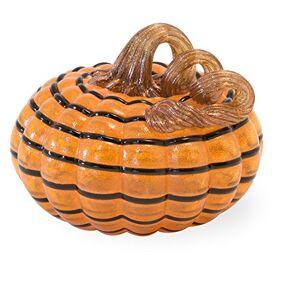 Boston International Figura Decorativa de Calabaza de Vidrio soplado a Mano, 12,7 x 11,4 cm, diseño de Rayas, Color Naranja y Negro