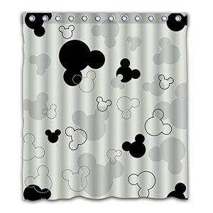Trelemek Patwee Cortina de Ducha, diseño de Mouse, Color Blanco y Negro, Color-01, 66x72inch